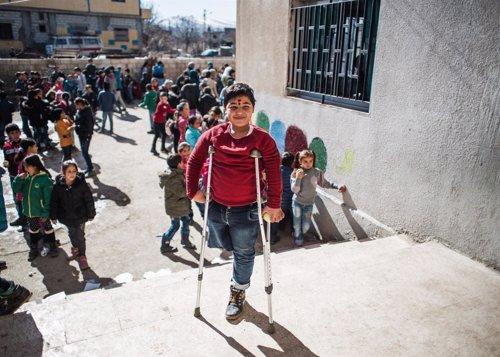 Kassem perdió la pierna en un bombardeo en Siria