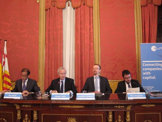 P.Relats, M.Valls (Cámara de Barcelona), J.Schewerin (CE), P.Aragonès (Govern)