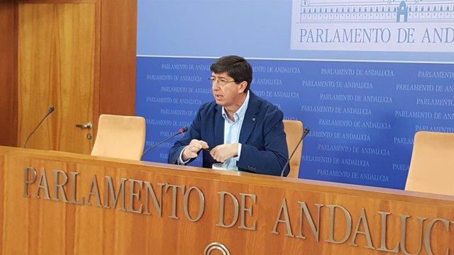 El presidente y portavoz de Cs en el Parlamento andaluz, Juan Marín