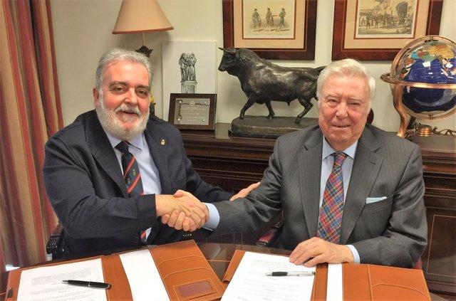Presidentes del Club de Enganches de Andalucía y de Fundación Caja Rural del Sur