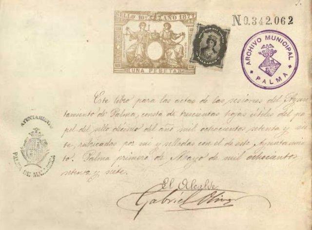 Captura de un acta del Ayuntamiento de Palma