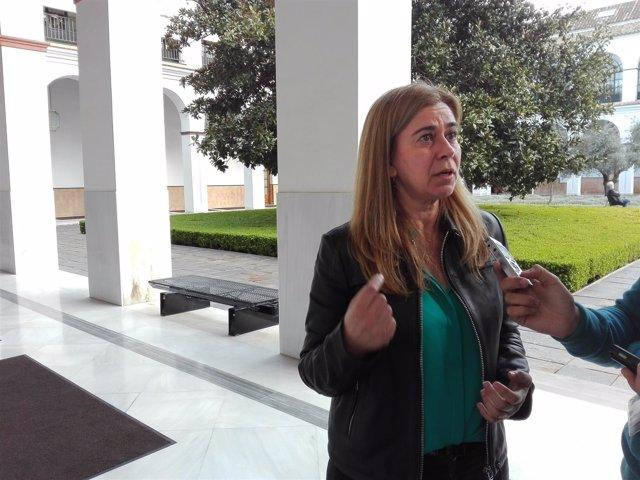 La diputada autonómica del PP-A Teresa Ruiz-Sillero atiende a los medios