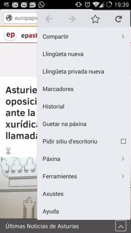 Versión en asturiano de Firefox para móviles. Captura de pantalla.