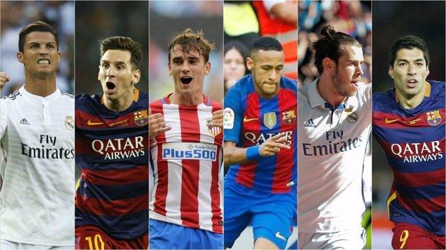 Cristiano Ronaldo Messi Griezmann Neymar Bale Luis Suárez montaje collage