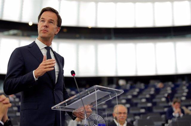 El primer ministro holandés, Mark Rutte, en el Parlamento Europeo