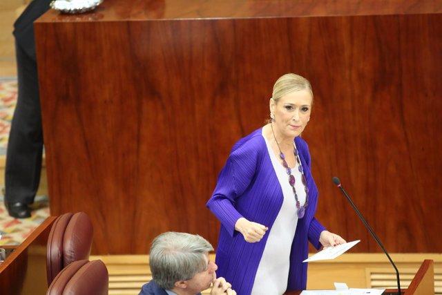 Cristina Cifuentes en un pleno de la Asamblea de Madrid