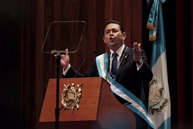 Jimmy Morales delivers a speech after being sworn-in as president of Guatemala i