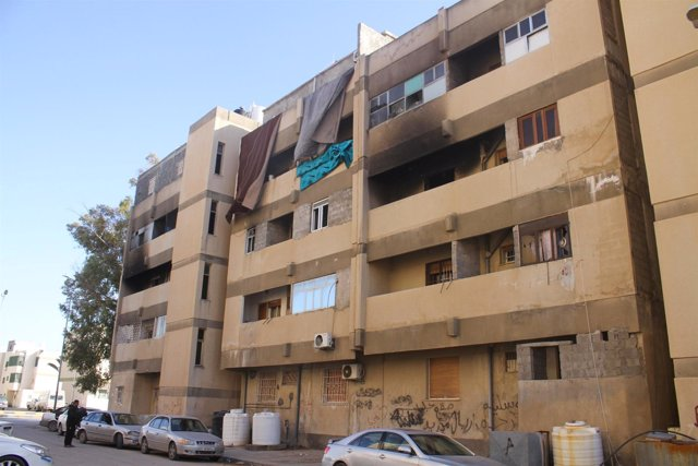 Edificios dañados en Trípoli
