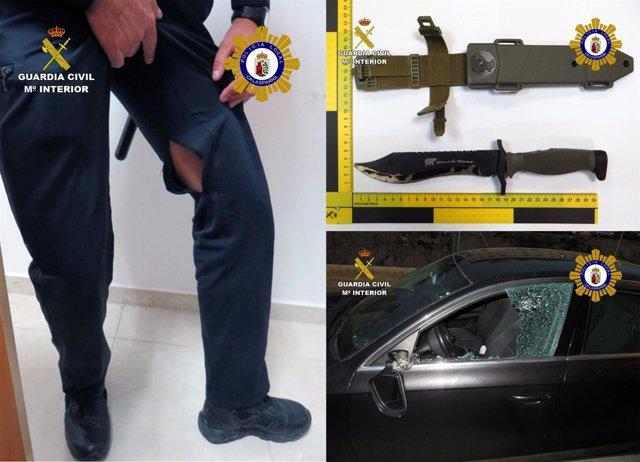 Imagen del arma usada y los daños provocados por el detenido