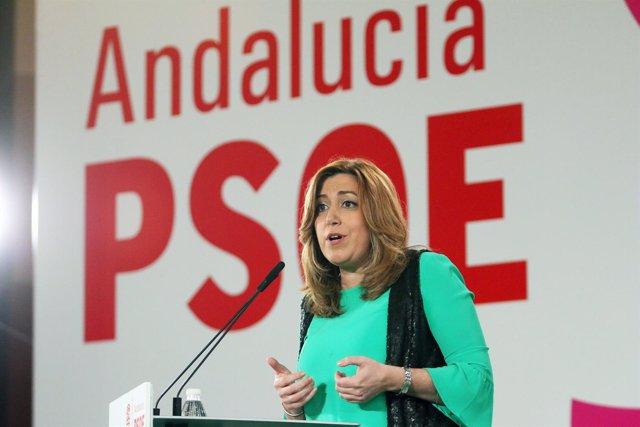 Susana Díaz interviene en un acto del PSOE en Málaga