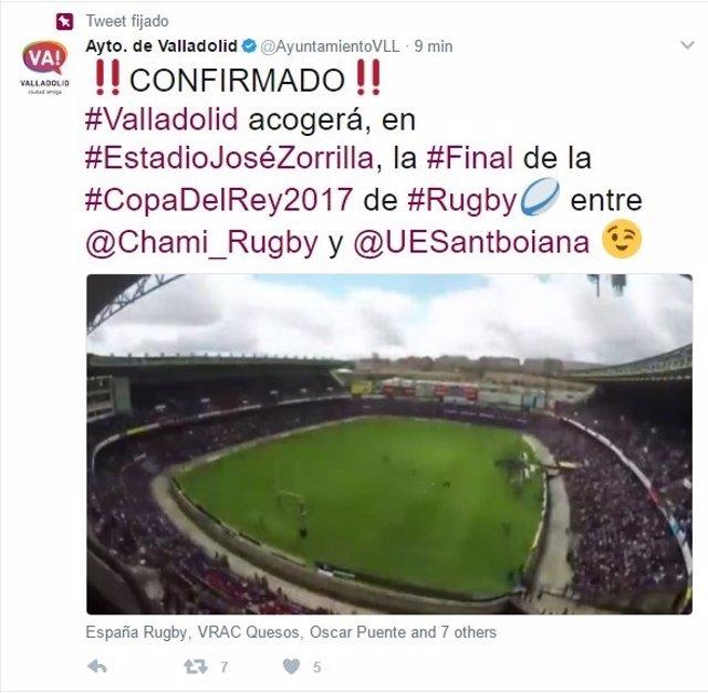 Tuit del Ayuntamiento de Valladolid