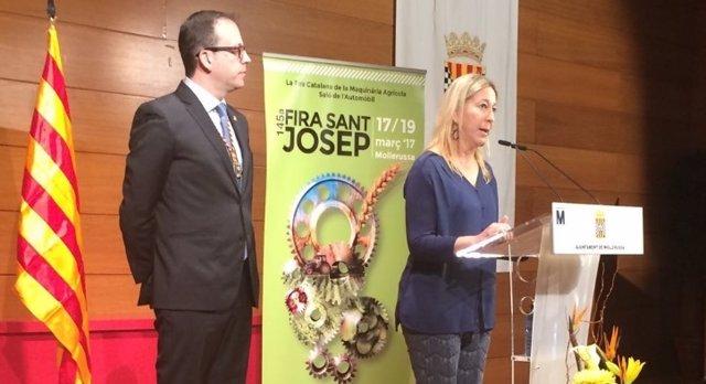 El alcalde de Mollerussa, Marc Solsona y la consellera Neus Munté