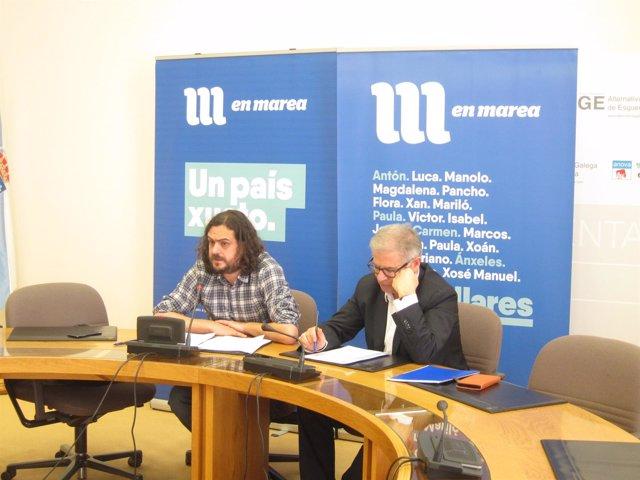 Antón Sánchez y Manuel Lago en rueda de prens.