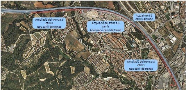 Mapa de las obras a realizar en la C-58, entre Terrassa y Sabadell