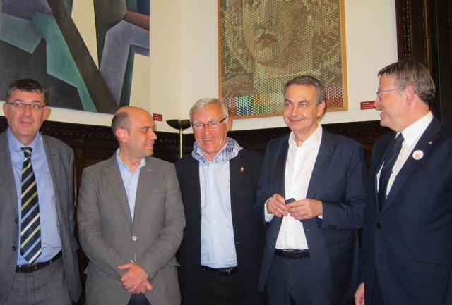 Rodríguez Zapatero junto a Puig, Ribó, Echávarri y Morera