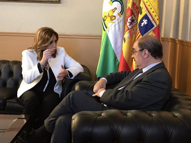 La presidenta andaluza, Susana Díaz, y su homólogo araonés, Javier Lambán.