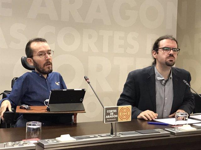 Los diputados de Podemos Pablo Echenique y Héctor Vicente.