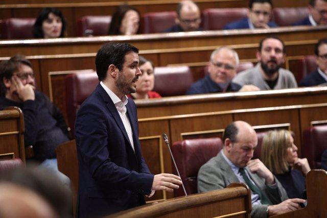 Alberto Garzón en la sesión de control al Gobierno en el Congreso
