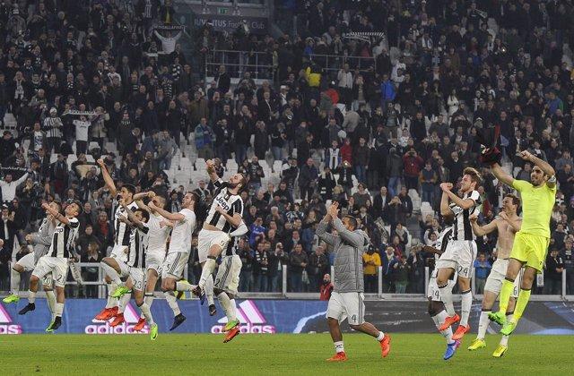 La Juventus celebra la victoria en un partido de la Serie A