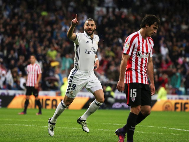 Karim Benzema en un partido ante el Athletic Club