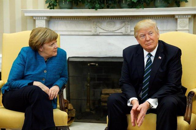 Trump en su reunión con Merkel en la Casa Blanca