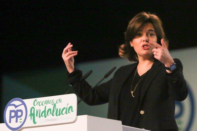 Soraya Sáenz de Santamaría en el Congreso del PP-A