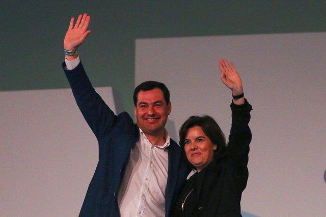 Juanma Moreno y Soraya Sáenz de Santamaría en el Congreso del PP-A