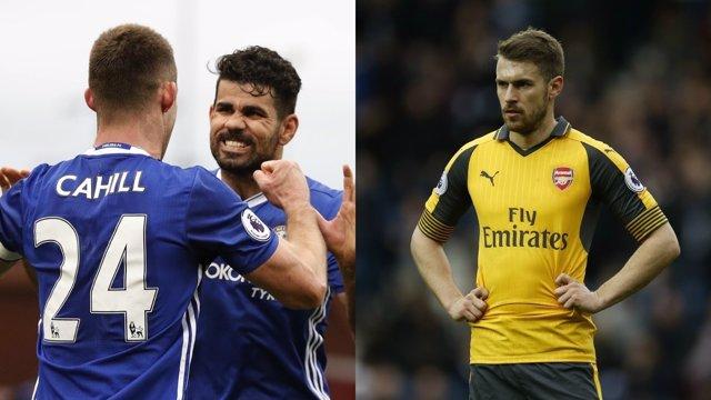 Diego Costa y Cahill, del Chelsea, y Aaron Ramsey, del Arsenal