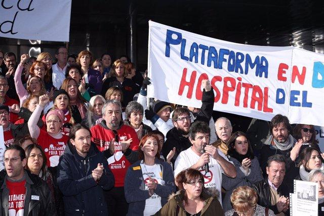 Pablo Iglesias, Irene Montero y Rafael Mayoral