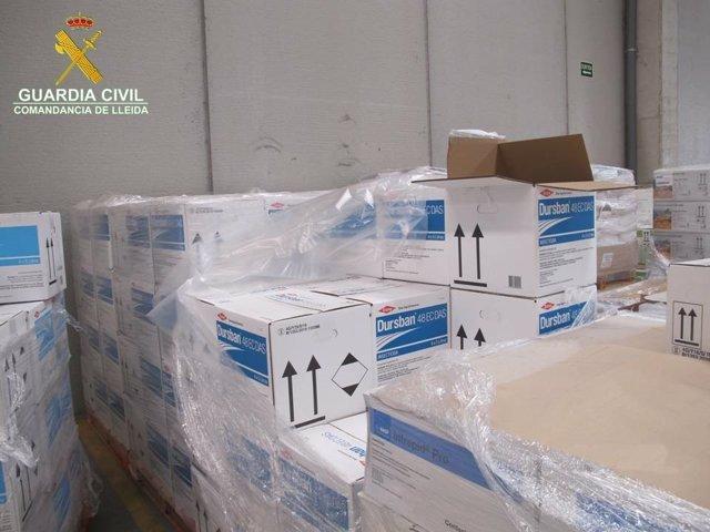 Insecticida inmovilizado por la Guardia Civil en Lleida