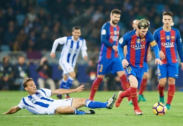 Sergio Canales Leo Messi Gerard Piqué Denis Suárez Barcelona Real Sociedad