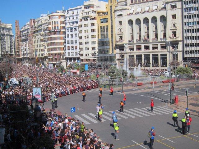 Público asistente a la 'máscletà' de este miércoles en València