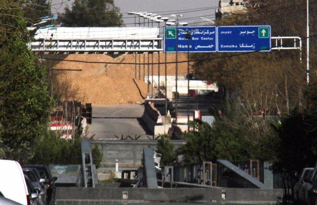 Entrada al distrito de Jobar, en Damasco