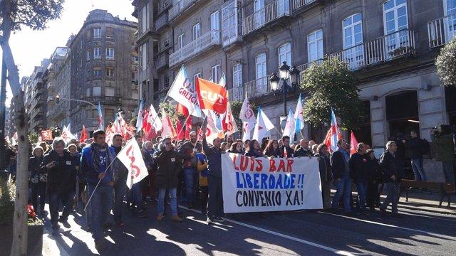 Manifestación de trabajadores de Pescanova en Vigo,