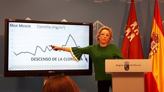 La consejera Adela Martínez-Cachá, muestra los datos del Mar Menor
