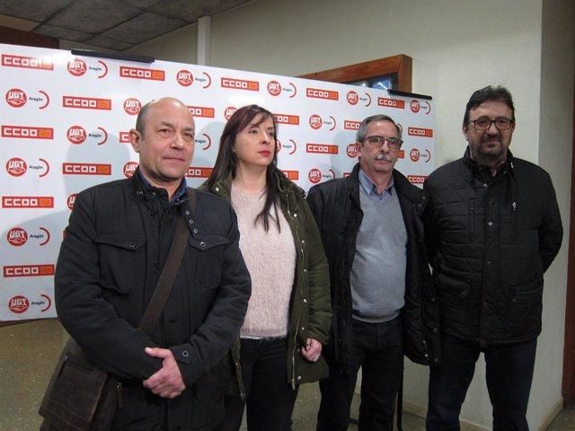Alastuey, Antoñanzas, Górriz y Buey, antes de asistir a asamblea de UGT y CCOO