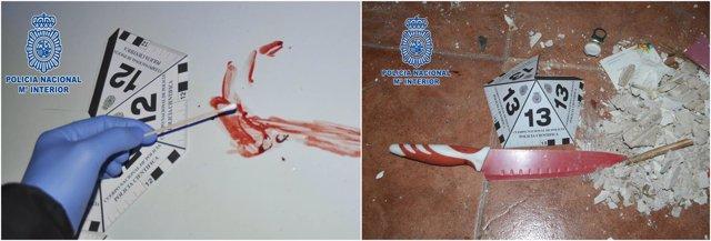 Imagen del examen de la sangre y de uno de los cuchillos usados en la agresión