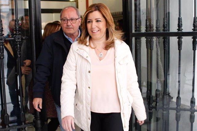 Susana Díaz llega a la sede del PSOE-A seguida de Juan Cornejo
