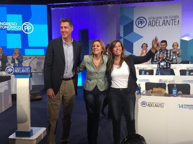 Xavier García Albiol, María Dolores de Cospedal y Alícia Sánchez-Camacho (PP)