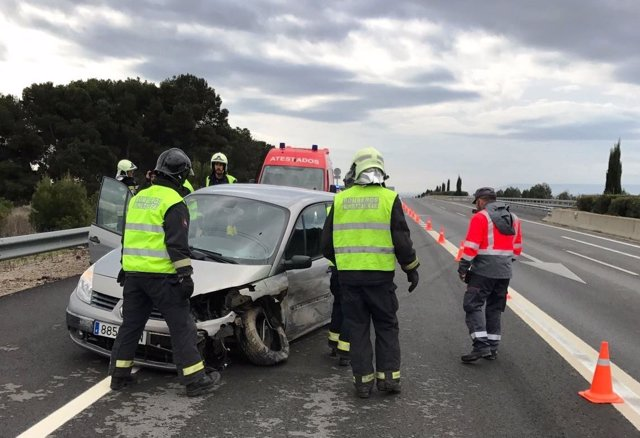 Salida de vía en la Autovía del Ebro en Tudela