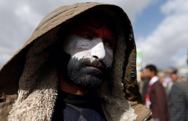 Manifestación huthi en Saná - Marzo de 2017