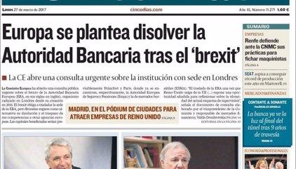 Las portadas de los periódicos económicos de hoy, lunes 27 de marzo