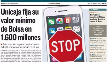 Las portadas de los periódicos económicos de hoy, martes 28 de marzo