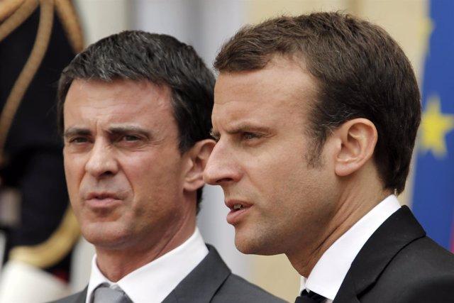 El primer ministro Manuel Valls y el ministro de Economía, Emmanuel Macron