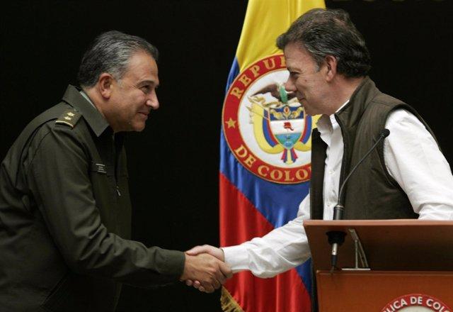Juan Manuel Santos y Óscar Naranjo