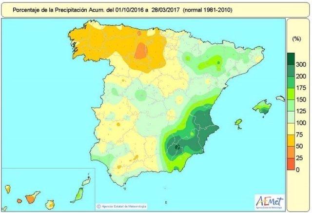 Distribución de lluvias en el conjunto de España