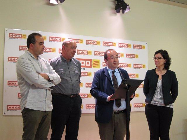 Javier Pacheco, Joan Carles Gallego (CC.OO.), Miquel Iceta, Eva Granados (PSC)
