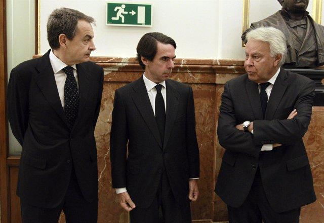 Aznar, Felipe González y Zapatero