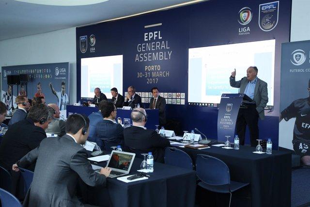 Javier Tebas, en la Asamblea de la EPFL en Oporto