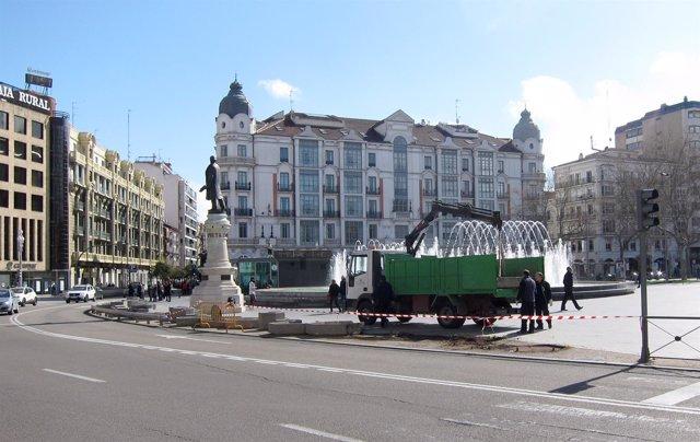 Trabajos en la Plaza Zorrilla de Valladolid